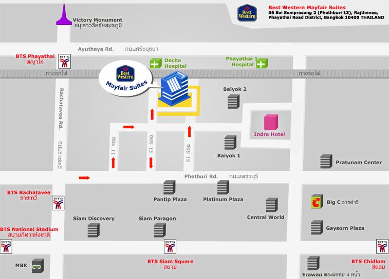 iCheck inn Mayfair Pratunam Landkarte